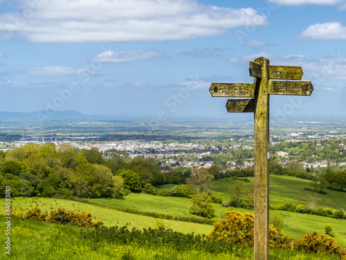 Photo  Cotswold way panorama across green fields