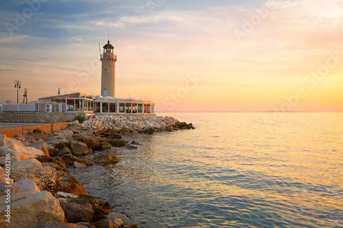 Foto op Aluminium Vuurtoren Lighthouse in the harbour of Patras, Peloponnese, Greece.