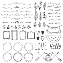 Set Of Romantic Decor Elements. Hand Drawing Style, Sketchy Vint