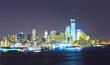 Lower Manhattan skyline at night.
