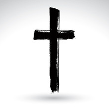 Hand Drawn Black Grunge Cross ...