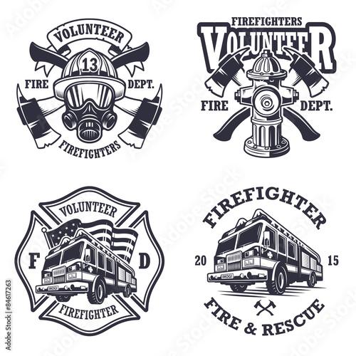 Set of firefighter emblems Tableau sur Toile