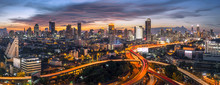 Panorama Bangkok City Sunset Trafic Road, Night Rooftop View Skyline Highway Twilight, Office Buildings, Living, Condominium In Bangkok City  Skyline Top Night View Downtown And Business Office