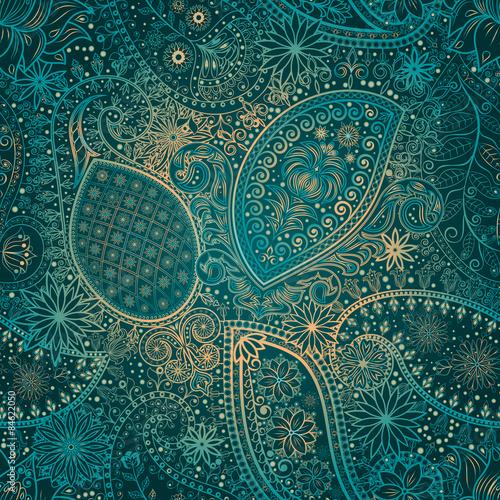 Papiers peints Artificiel Vintage floral motif ethnic seamless background.