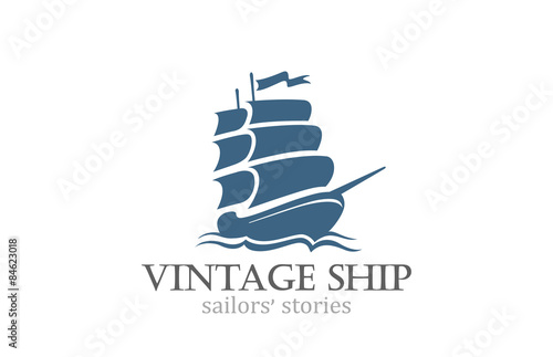 In de dag Schip Vintage Ship Logo Sailing Boat design vector template...Ancient
