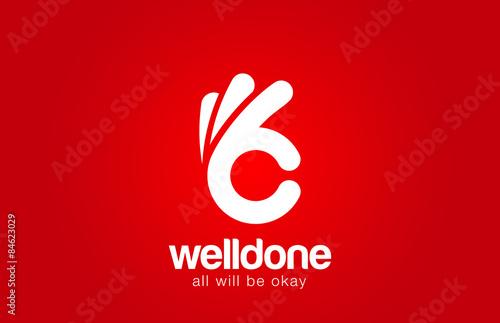Obraz Ok Logo design vector template...Hand Okay symbol icon logotype - fototapety do salonu
