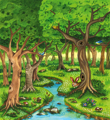 Naklejka Landscape of a forest with trees and river. Nature watercolor illustration.