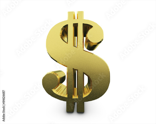 Fototapeta white background 3d dollar symboly