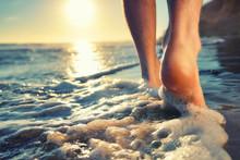 Enjoying A Barefooted Walk At ...