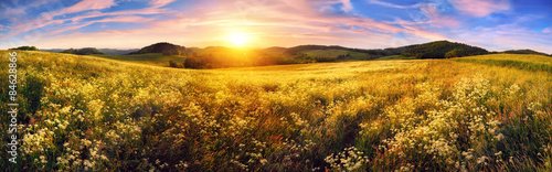 Foto op Plexiglas Panoramafoto s Panorama of a colorful sunset on beautiful meadow