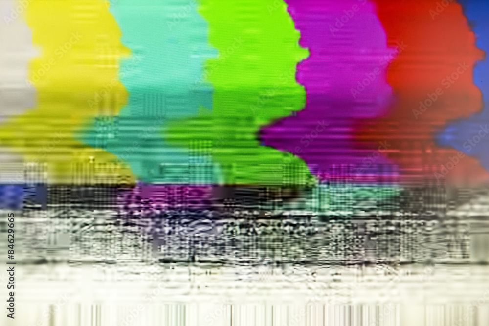 Fototapeta Television screen with static noise caused by bad signal recepti