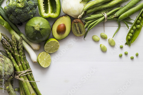 Aluminium Prints Vegetables Selection of green fruit and vegetable ingredients
