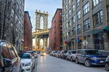 Manhattan Bridge From Brooklyn On A Winter Afternoon
