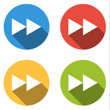 Collection Of 4 Isolated Flat Buttons For Fast Forward