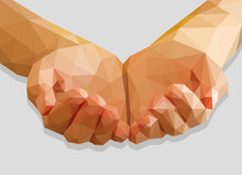 Hands Cupped Empty Polygon Low Poly Isolated On A Gray Backgroun