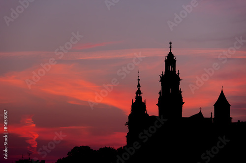 Papiers peints Cracovie Wawel Castle and Cathedral Silhouette in Krakow