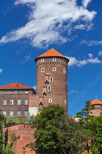 view on wawel  royal castle with sandomierska tower in cracow in poland #84653474