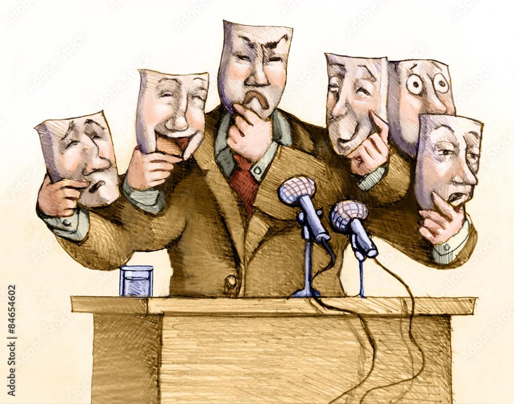 Fototapety, obrazy: leader political illustration conceptual cartoon