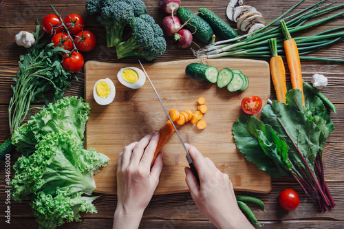 Poster Eten Healthy food and ingredients on rustic wooden background