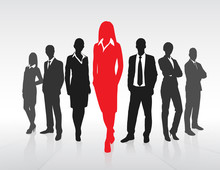Red Businesswoman Silhouette, ...