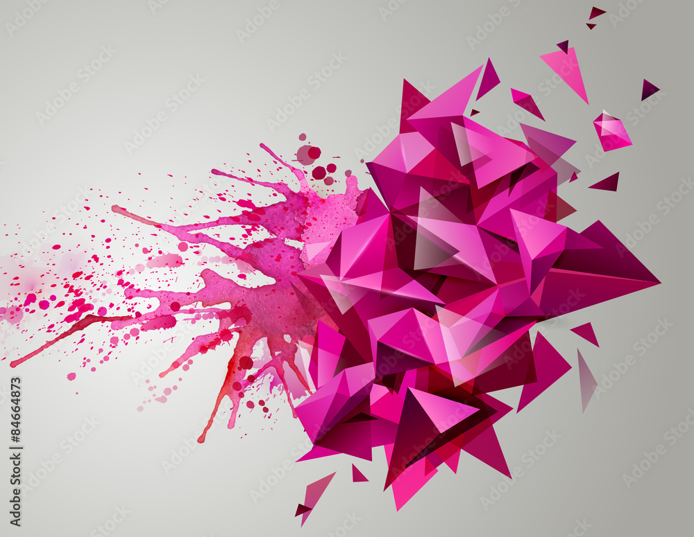 Fototapeta Geometric pink abstract banner. Modern triangular formed by artistic blots.