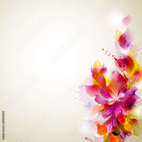 Foto op Canvas Bloemen vrouw Abstract background with flower and design elements