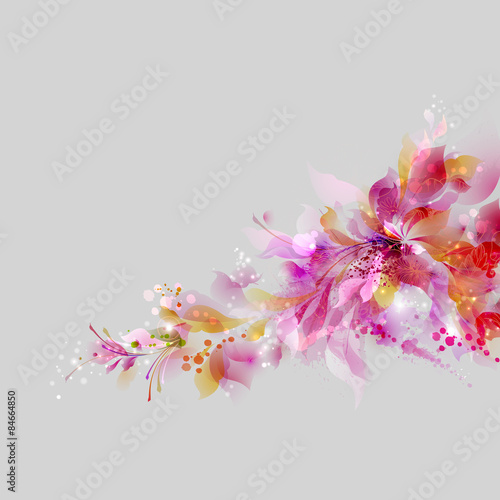 Poster Bloemen vrouw Abstract background with floral and design elements