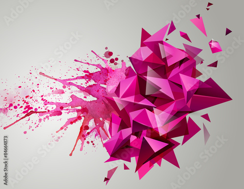 Fototapety, obrazy: Geometric pink abstract banner. Modern triangular formed by artistic blots.