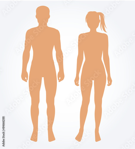 Carta da parati Man and woman body template. Vector illustration