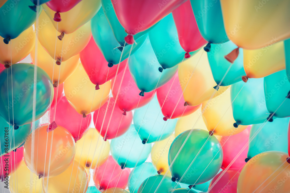 Fototapeta colorful balloons with happy celebration party background