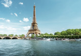 Fototapeta Fototapety z wieżą Eiffla - Seine in Paris with Eiffel tower in morning time