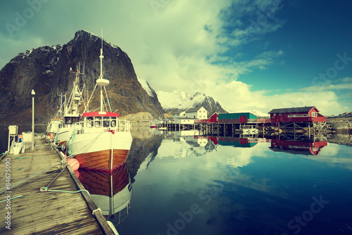 Poster Scandinavie boats, Lofoten islands, Norway
