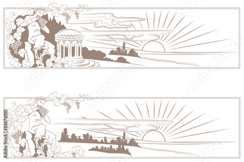 Stampa su Tela Vector faun surrounded by grapes in a landscape
