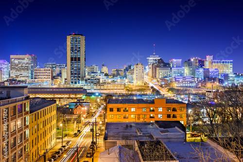 Fototapeta  Richmond, Virginia, USA downtown skyline at night.