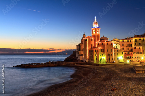 Tuinposter Liguria Liguria - Camogli at evening