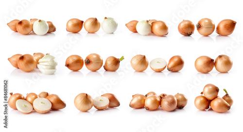 Fototapeta composite of fresh onion  isolated on white background obraz