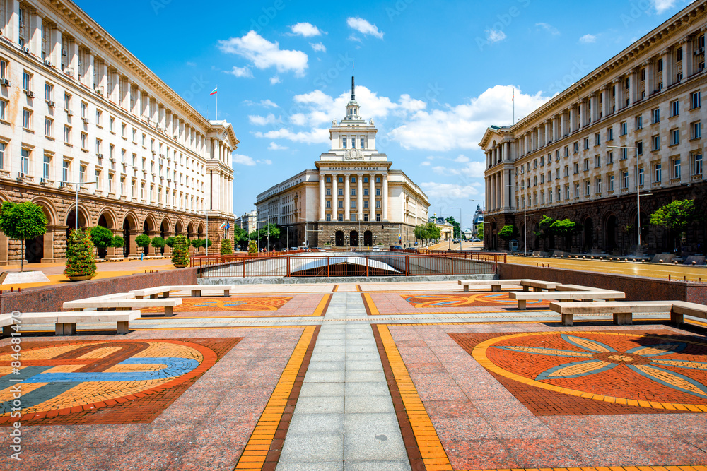Fototapety, obrazy: Ensemble of three Socialist Classicism edifices in Sofia