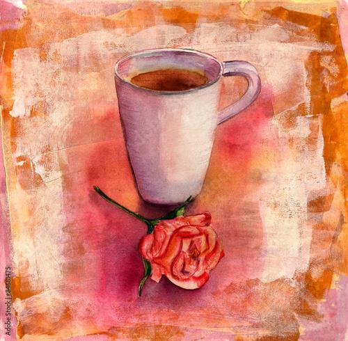 akwareli-filizanka-herbata-z-herbata-wzrastal-na-kolorowym-artystycznym-tle