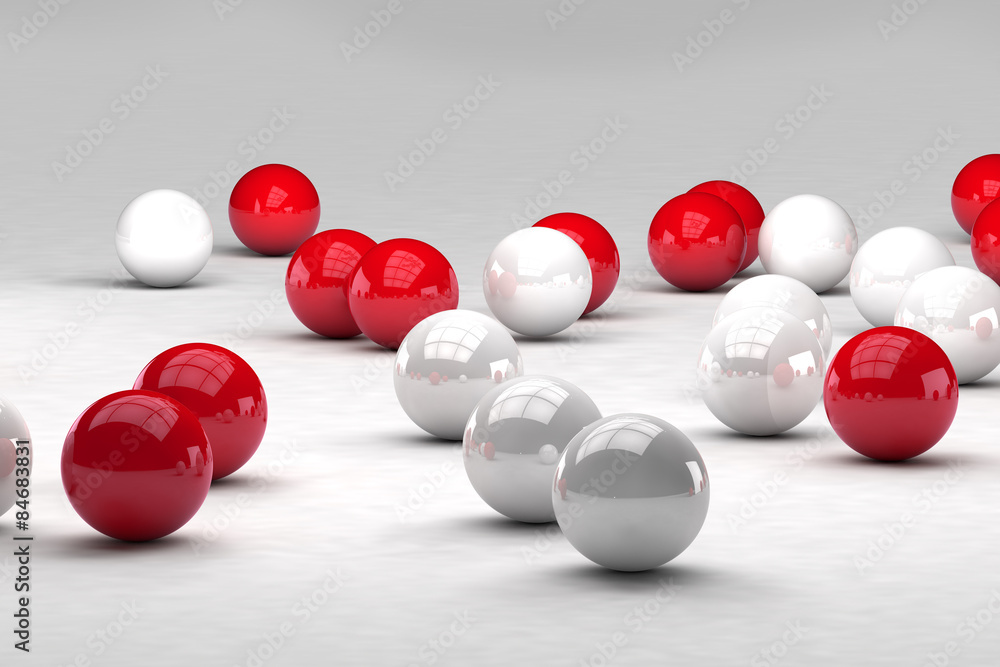 Lots of white and red balls interact. 3D render image.