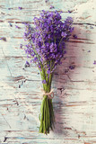 Fototapeta Lavender - Fresh lavender on wood