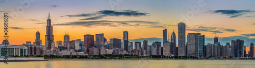 Chicago downtown skyline and lake michigan at sunset