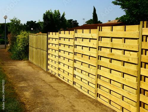 Fotografie, Obraz  Panneaux en Bois, palissade, cloture de jardin, propriété