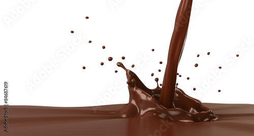 Foto op Plexiglas Chocolade Hot chocolate splash with pouring, isolated on white.