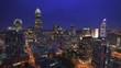 Charlotte, North Carolina, USA uptown skyline footage at night.