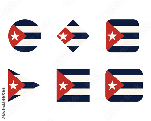 Set of buttons, icons or logo templates with flag of Cuba Wallpaper Mural