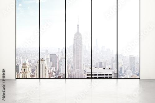 Obraz na płótnie Blank white room with city view
