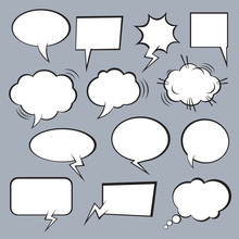 Set Of Vector Comic Speech Bubbles.