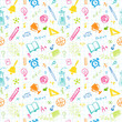 Hand Drawn Chalk School Doodled Pattern on White Checkered