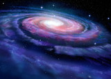 Fototapeta Kosmos - Spiral galaxy, illustration of Milky Way