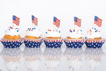 Patriotic Cupcakes With Sprinkles And American Flags